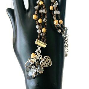 Brighton Karma bracelet corded beads. Sparkles